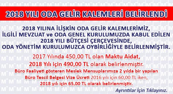 2018 YILI ODA GELİR KALEMLERİ