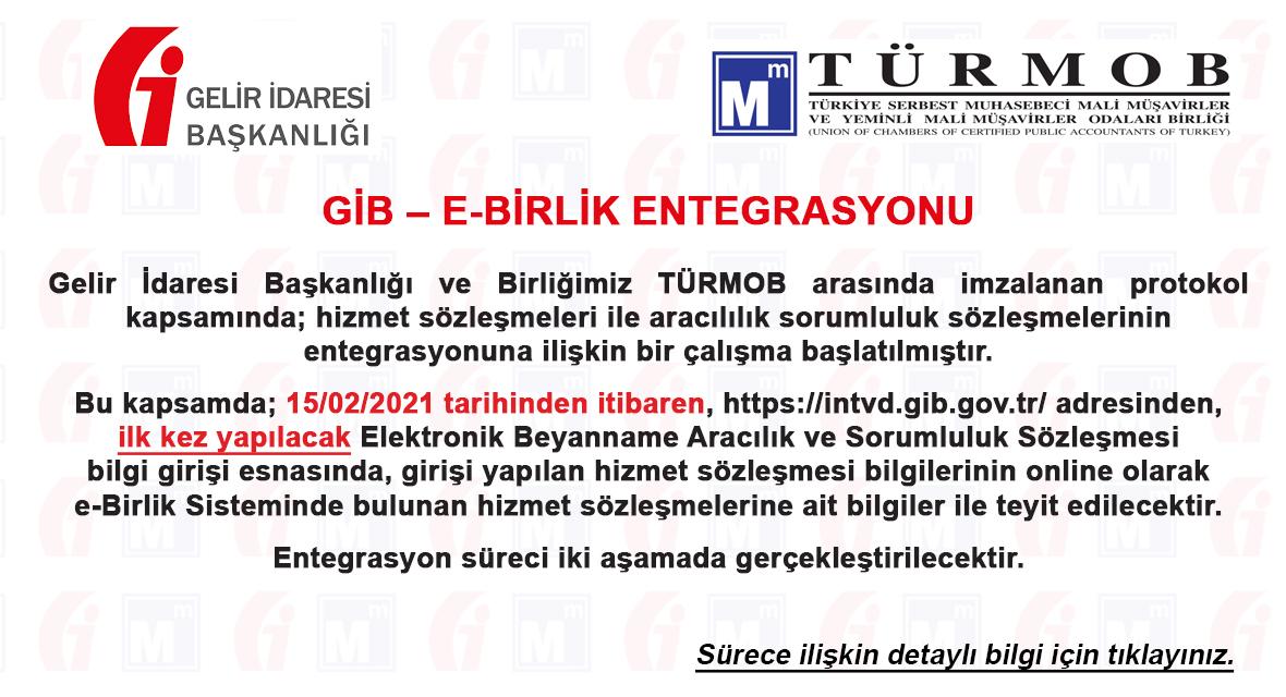 GİB – E-BİRLİK ENTEGRASYONU