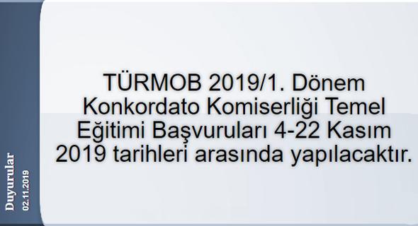 TÜRMOB 2019/1. Dönem Konkordato Komiserliği