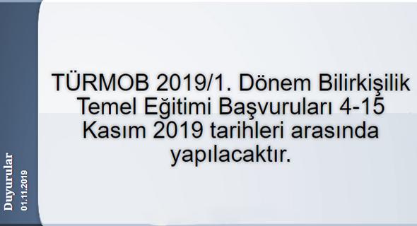 TÜRMOB 2019/1. Dönem Bilirkişilik Temel Eğitimi