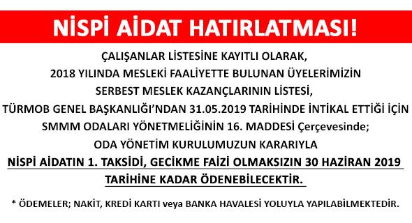 NİSPİ AİDAT HATIRLATMASI!