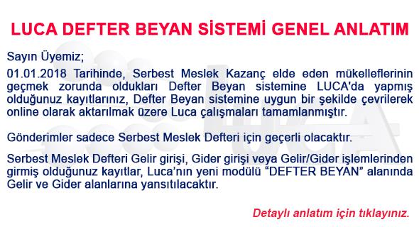 LUCA DEFTER BEYAN SİSTEMİ GENEL ANLATIM